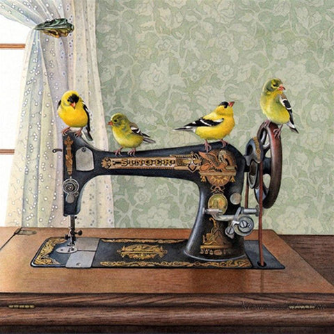 Image of 5D Diamond Painting Birds on a Sewing Machine