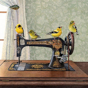 5D Diamond Painting Birds on a Sewing Machine