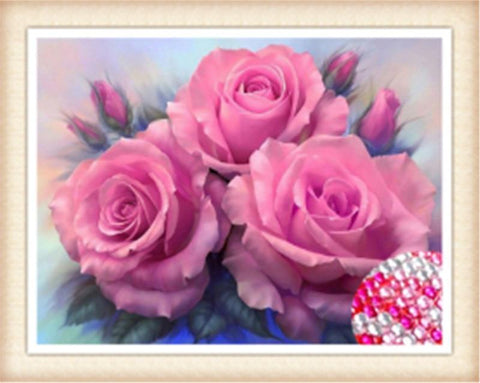 5D Diamond Painting Sparkling Roses Full Drill 24 x 34 cm