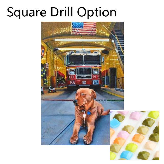 5D Diamond Painting American Fire Truck & Station Dog