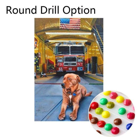 Image of 5D Diamond Painting American Fire Truck & Station Dog