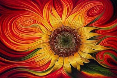 5D Diamond Painting Warped Sunflower