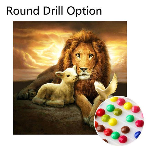 Image of 5D Diamond Painting Lion Lamb Dove