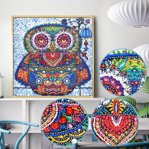 5D Diamond Painting Sparkling Owl Special Shaped Partial Drill 30 x 30 cm