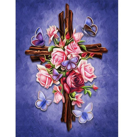 Image of 5D Diamond Painting Crucifix Flowers Butterflies