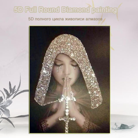 Image of 5D Diamond Painting Solemn Praying in Veil - READ Description
