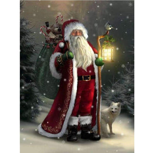 5D Diamond Painting Santa with White Fox