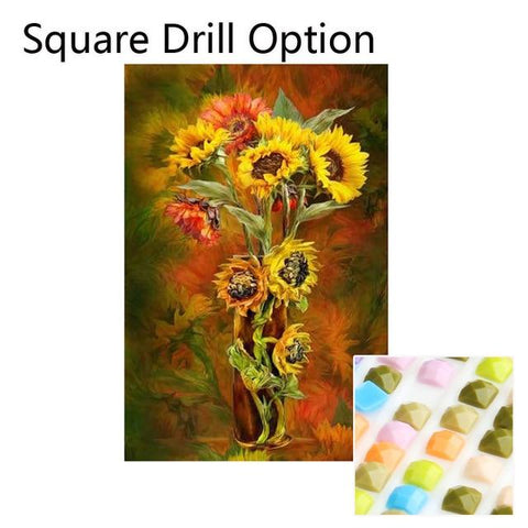Image of 5D Diamond Painting Sunflower Vase