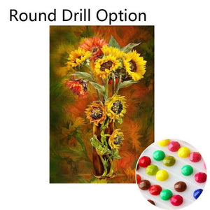 5D Diamond Painting Sunflower Vase