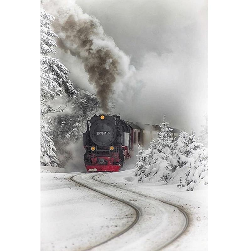 5D Diamond Painting Winter Train