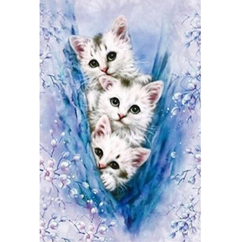Image of 5D Diamond Painting Sneaking Three Kittens