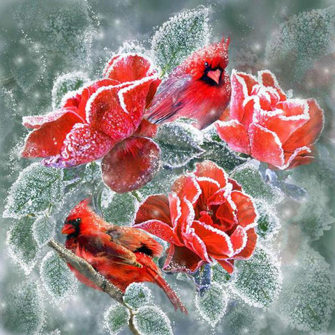 Image of 5D Diamond Painting Frozen Red Roses & Cardinals