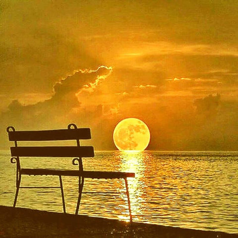 Image of 5D Diamond Painting Perfect Lakeside Sunset and Bench