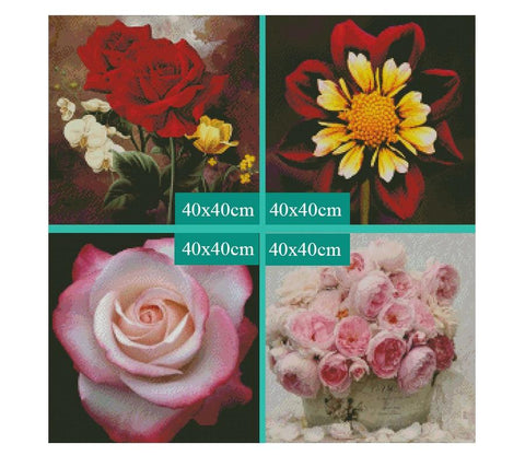Image of 5D Diamond Painting Assortment of Flowers and Roses