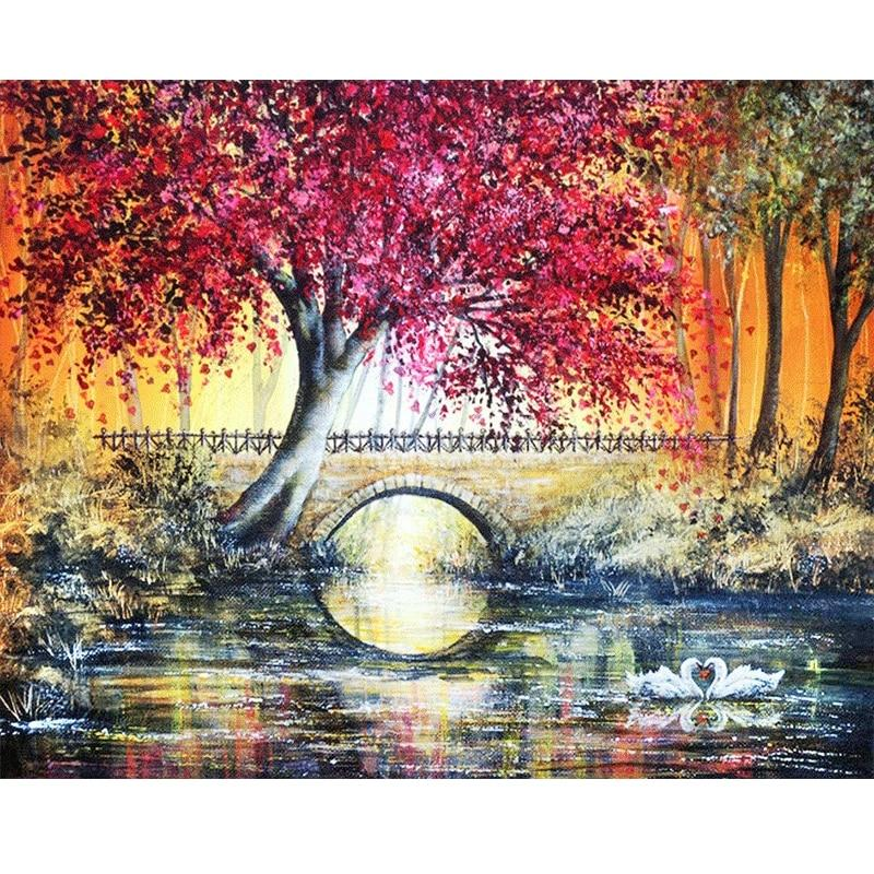5D Diamond Painting Small Bridge Tree