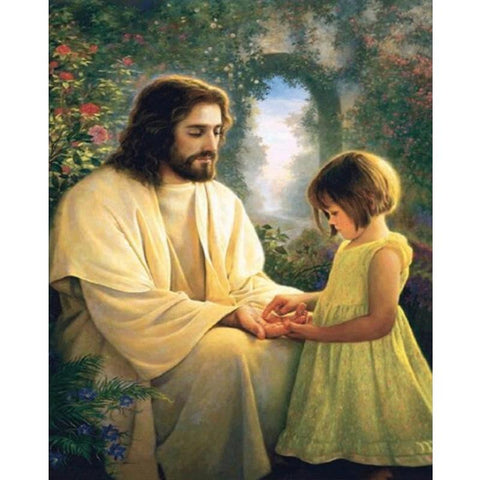 Image of 5D Diamond Painting Little Girl and Jesus