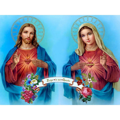 Image of 5D Diamond Painting Sacred Heart of Jesus and Immaculate Heart of Mary
