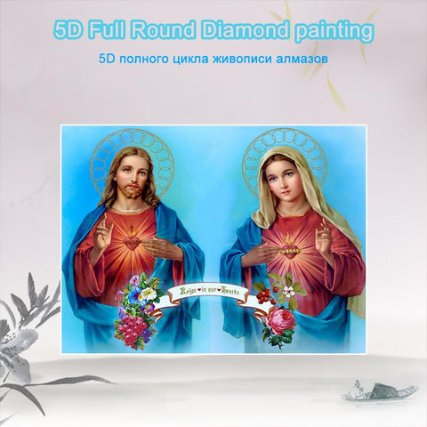 5D Diamond Painting Sacred Heart of Jesus and Immaculate Heart of Mary