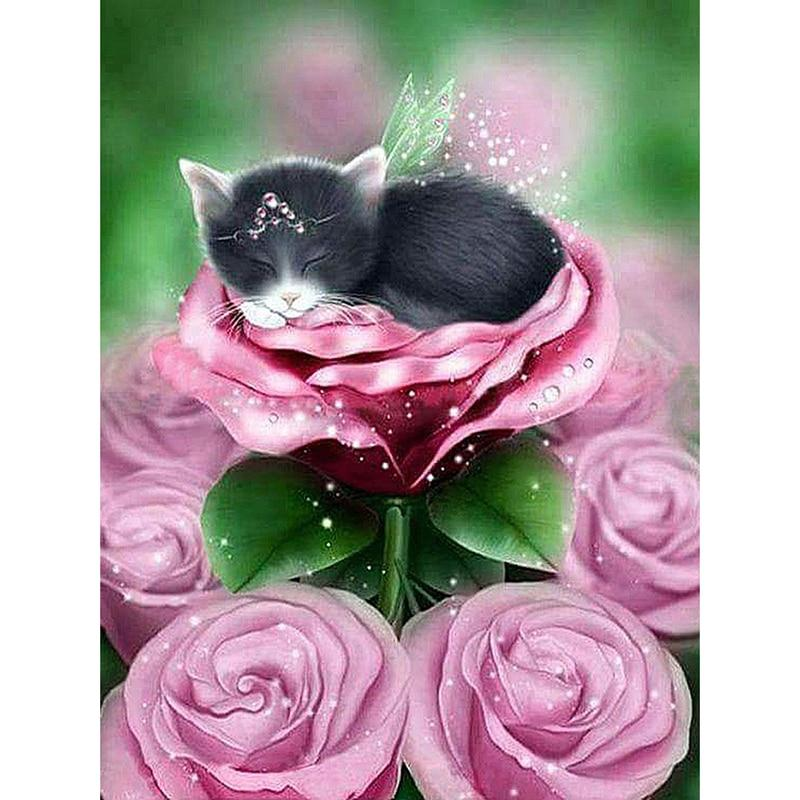 5D Diamond Painting Sleeping Princess Kitten