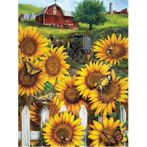 Image of 5D Diamond Painting Sunflowers in Amish Country