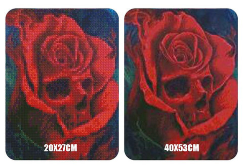 5D Diamond Painting Skull and Flowers