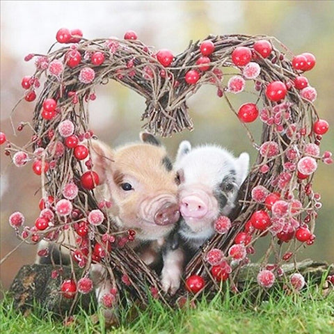 Image of 5D Diamond Painting Piglets in Love