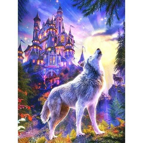 5D Diamond Painting Magical Wolf Howling