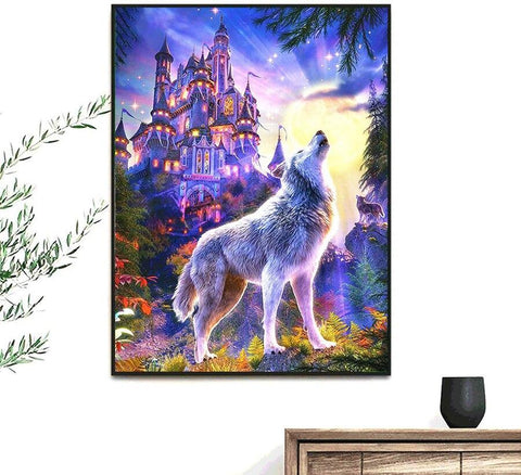 Image of 5D Diamond Painting Magical Wolf Howling