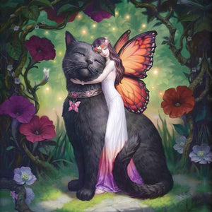 5D Diamond Painting Flower Fairy and Cat