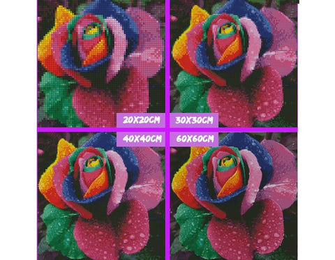 Image of 5D Diamond Painting Colorful Rose Flower