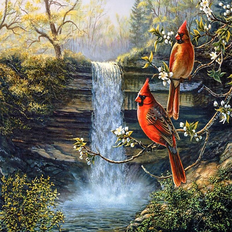 5D Diamond Painting Cardinals by a Waterfall