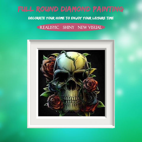 5D Diamond Painting Rose Skull