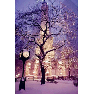 5D Diamond Painting Winter Tree Castle