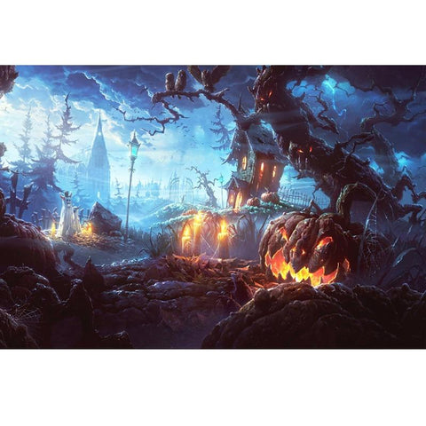 Image of 5D Diamond Painting Haunted Pumpkin Patch
