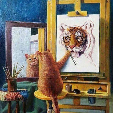 Image of 5D Diamond Painting Painter Cat