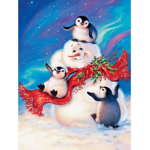 5D Diamond Painting Snowman and Friends