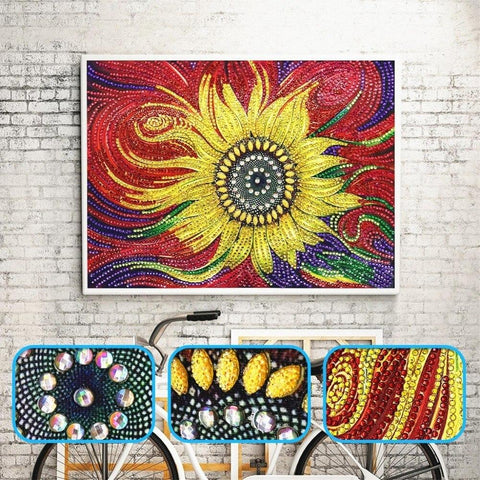 5D Diamond Painting Sparkling Sunflower Partial Drill 25x35cm