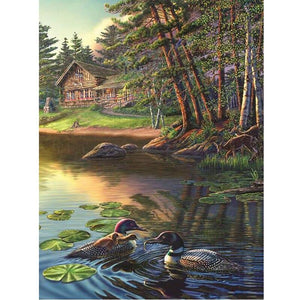 5D Diamond Painting Cabin by the Lake with Ducks