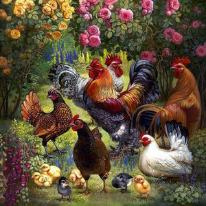 5D Diamond Paintings a Roosters, Chickens, and Chicks