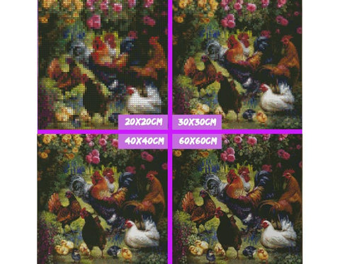 Image of 5D Diamond Paintings a Roosters, Chickens, and Chicks