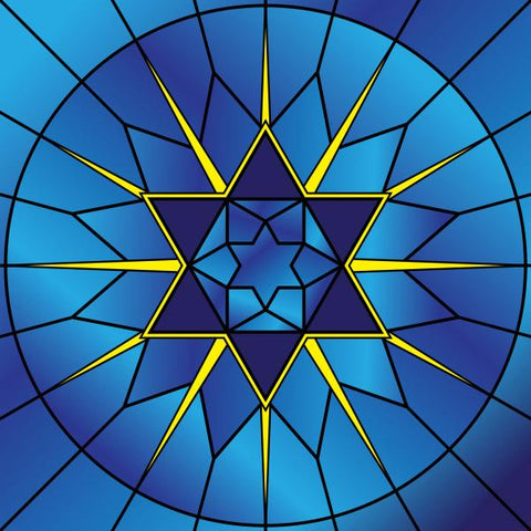 Image of 5D Diamond Painting Blue Stained Glass Star of David