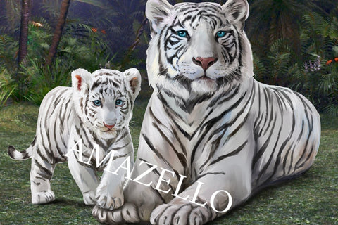 Image of 5D Diamond Painting Tiger Mom and Baby