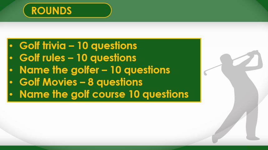 A01 T V1 - Forty Eight Question Five Round Golf Quiz (22/02/18)