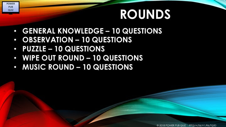 A06 V1 - Fifty Question Five Round Quiz
