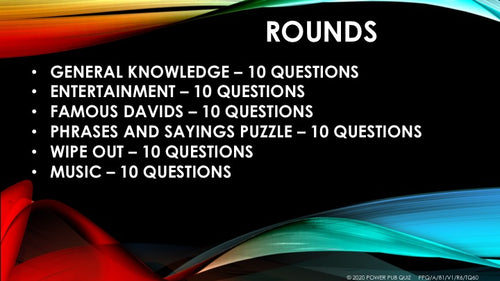 A81 Six Round Sixty Question Quiz