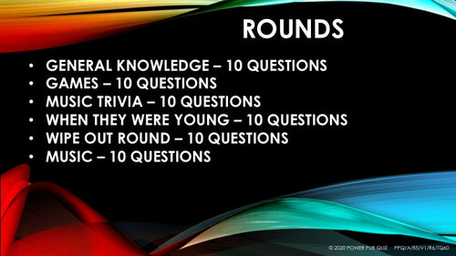 A85 Six Round Sixty Question Quiz - Added 01 May2020