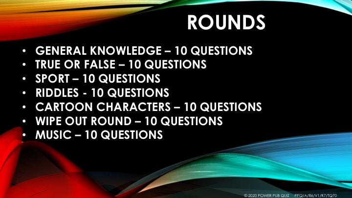 A86 Seven Round Seventy Question Quiz - Added 07 May 2020 ...