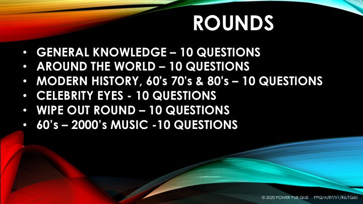 A87 Six Round Sixty Question Quiz - Added 15 May 2020