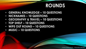 A89 Six Round Sixty Question Quiz - Added 28 May 2020