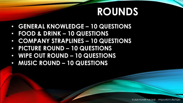 A90 Six Round Sixty Question Quiz - Added 03 June 2020